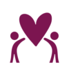 Deep Purple Icon of two people holding a heart