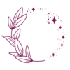 deep purple icon a leafy branch and stars making a circle