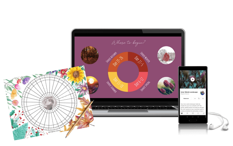 Left side is a menstrual cycle chart. Middle is a laptop with an image of Cyclical Awakening course. Right is a mobile with a meditation app.