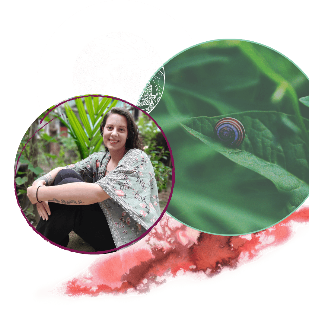 Three circles. One with a photo of Meghan sitting on the ground in a green and black outfit. One with leaves and a purple snail. One with the moon.