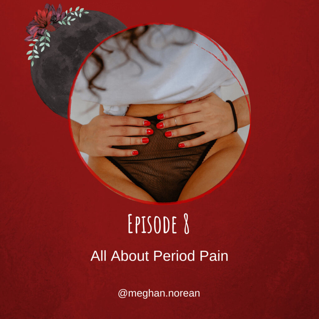 Photo of a person experiencing period pain and places hands on womb with a red background and a dark moon